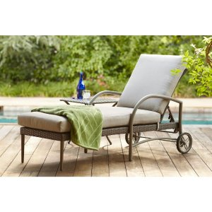 Hampton Bay Posada Patio Chaise Lounge with Gray Cushion-153-120-CL - The Home Depot