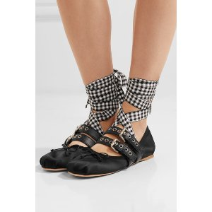 Lace-up leather-trimmed satin ballet flats