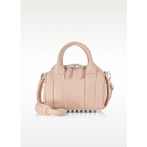 Alexander Wang Mini Rockie Pale Pink Pebbled Leather Satchel at FORZIERI