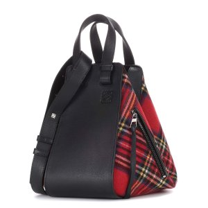 Hammock leather and tartan tote