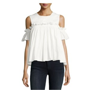 AIDEN Ruffled Cold-Shoulder Top