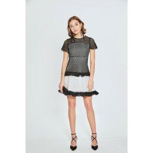 Fringe Hem Net Mini Dress DR1463