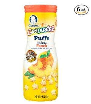 $9.77Gerber Graduates Puffs Cereal Snack, Peach, 1.48 Ounce, 6 Count