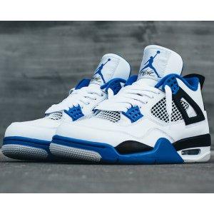 Jordan Retro 4 - Men's - Basketball - Shoes - White/Game Royal/Black