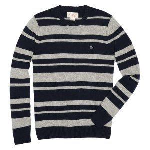 STRIPED WOOL CREW SWEATER