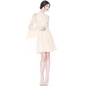Enya Embroidered Flare Sleeve Cold Shoulder Dress | Alice + Olivia