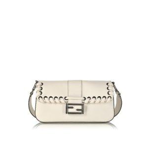 Fendi Baguette Camellia-white Calfskin Shoulder Bag