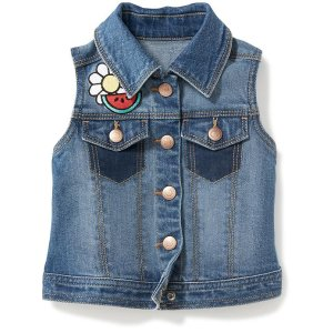 Patch-Graphic Denim Vest for Toddler Girls