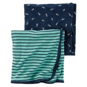 Baby Boy 2-Pack Little Rocket Babysoft Swaddle Blanket Set   Carters.com