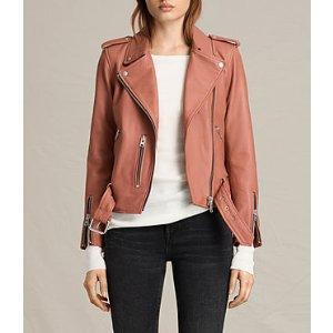 ALLSAINTS US: Womens Balfern Leather Biker Jacket (Burnt Coral)