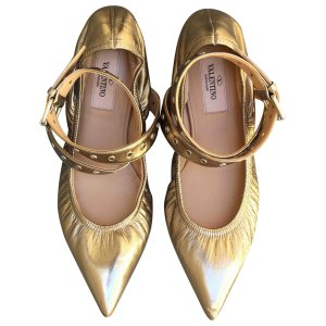 (5) metallic Plain Leather VALENTINO Ballet flats - Vestiaire Collective