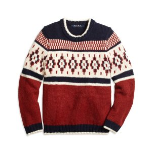 Boys' Wool Blend Red and Navy Fair Isle Sweater   Brooks Brothers