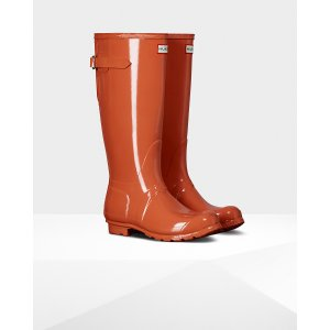 Womens Orange Adjustable Gloss Rain Boots | Official US Hunter Boots Store