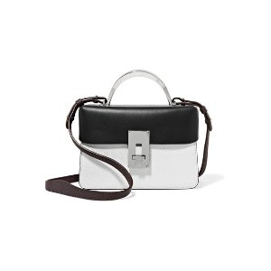 Data Paris color-block smooth and textured-leather shoulder bag