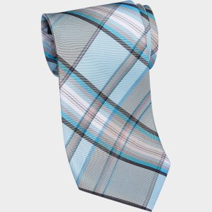 Tommy Hilfiger Light Blue Plaid Narrow Extra Long Tie - Men's Narrow (3 to 3 1/4