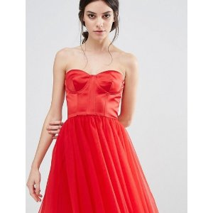 Chi Chi London Petite Corset Dress With Tulle Skirt