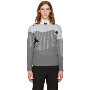 Thom Browne: Grey Sea Animal Classic Pullover | SSENSE
