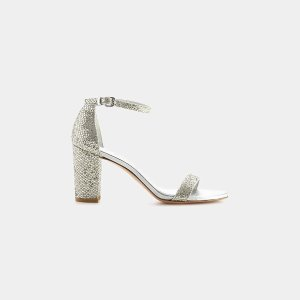 Stuart Weitzman Nearlynude Chrome Glitter Lace Sandal Sandals | ELEVTD Free Shipping & Returns