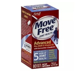 Schiff Move Free Advanced Glucosamine Chondroitin MSM Vitamin D3 and Hyaluronic Acid Joint Supplement, 80 Ct | Jet.com