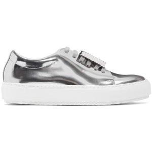Acne Studios: Silver Metallic Adriana Sneakers | SSENSE
