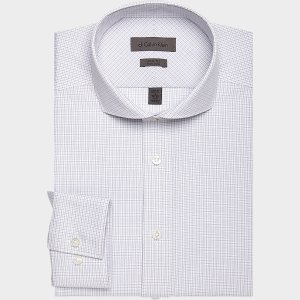 Calvin Klein Gray Micro Check Slim Fit Dress Shirt - Men's Slim Fit | Men's Wearhouse