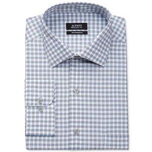 Alfani Men's Big and Tall Classic-Fit Mallard Blue Line Gingham Dress Shirt, Only at Macy's - Dress Shirts - Men - Macy's