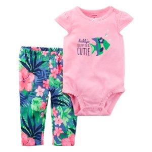Baby Girl 2-Piece Neon Bodysuit Pant Set | Carters.com