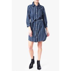 Belted Shirt Dress in Seaside Stripe - 7FORALLMANKIND