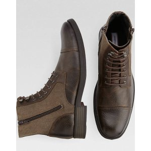Joseph Abboud Marlon Brown Leather and Canvas Lace Up Boots - Men's Boots   Men's Wearhouse