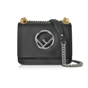 Fendi Kan I F Small Black Leather Shoulder Bag