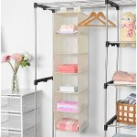 MaidMAX Hanging Closet Organizer, MaidMAX 6-Shelf Collapsible Hanging Accessory Shelves with 2 Widen Velcros for Clothes and Shoes Storage for Gift, Beige