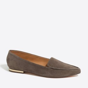 Edie suede loafers with mirrored heel
