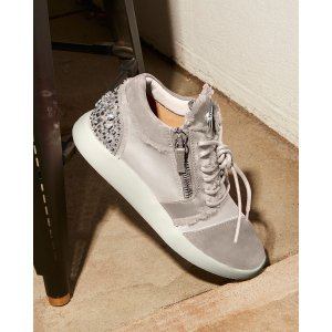 Giuseppe Zanotti Embellished Satin and Suede Mid Top Sneakers - 100% Exclusive | Bloomingdale's