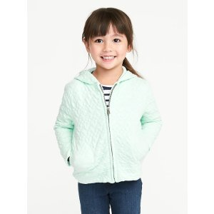 Quilted-Heart Zip Hoodie for Toddler Girls
