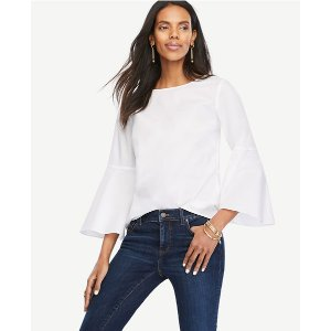 Fluted Sleeve Poplin Shirt | Ann Taylor