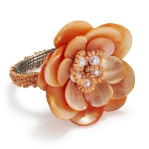 Mother of Pearl Flower Napkin Ring,buy 3 get 1 free | Sur La Table