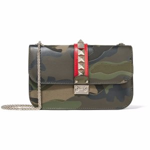 Rockstud paneled printed canvas and leather shoulder bag | Valentino | US | THE OUTNET