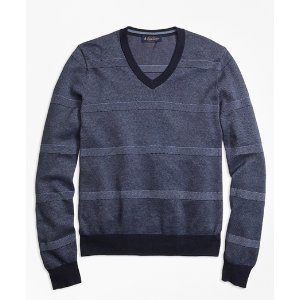Oxford Pique Stripe V-Neck Sweater - Brooks Brothers