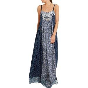 Lace-trimmed printed cotton-blend crepe de chine maxi dress | Chloé | US | THE OUTNET