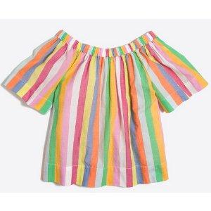 Girls' short-sleeve rainbow stripe ruched top