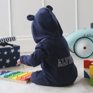 Personalised Hooded Jersey Onesie - Navy | My 1st Years