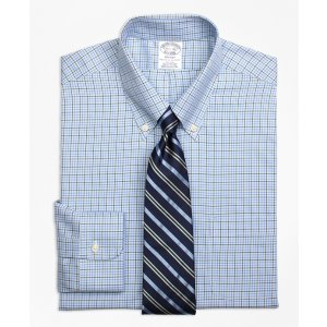 Non-Iron Regent Fit Overcheck Tattersall Dress Shirt - Brooks Brothers