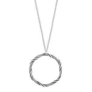 Peter Thomas Roth Ribbon & Reed Signature Romance Circle Pendant Necklace in sterling silver 1