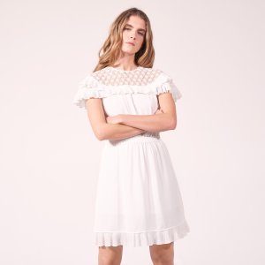 Dress With Lace Collar And Ruffles - Dresses - Sandro-paris.com