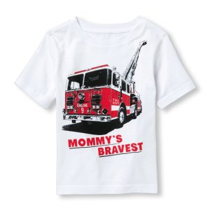 Toddler Boys Short Sleeve 'Mommy's Bravest' Firetruck Graphic Tee | The Children's Place