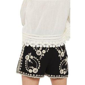 Topshop Embroidered Bed Shorts | Nordstrom