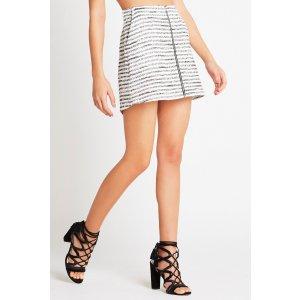 Striped Zipper-Front Skirt
