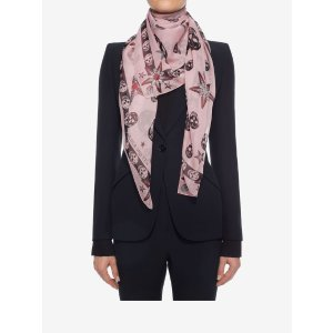 Classic Chiffon Skull And Star Scarf | Alexander McQueen