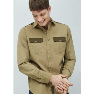 Slim-fit contrast appliqué shirt - Men | OUTLET USA