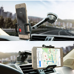 Car Phone Holder, Otium Car Phone Mount, 360 Rotating Windshield Dashboard Universal Mobile Phone Cradle Long Adjustable Arm with One-button Release for iPhone Samsung Galaxy HTC LG Huawei and More